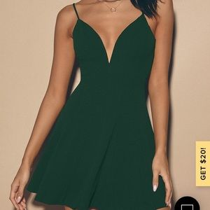 Lulu's Meghan Hunter Green Skater Dress